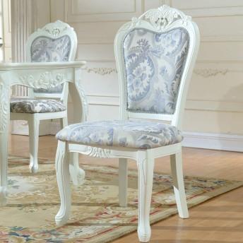 家庭用家具 椅子の布チェアレトロアメリカンダイニングチェア無垢材スツールホテルチェアシンプルなアセンブリ2個を彫 (色 : 白, サイズ : 52x48x106cm)