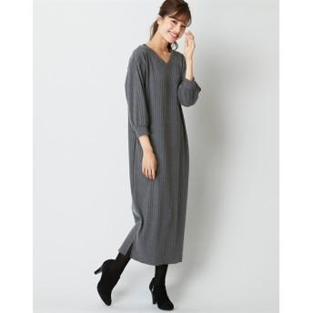 ゆるシルエットテレコリブカットソー7分袖ワンピース (大きいサイズレディース)ワンピース, plus size dress
