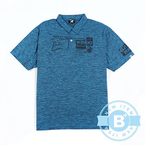 加大尺碼35-013209排汗POLO衫-藍綠