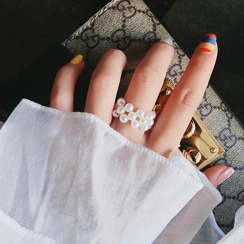 網紅同款珍珠編織戒指女日韓優雅時尚簡約彈力指環氣質多排戒圈