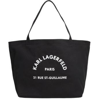 《セール開催中》KARL LAGERFELD レディース ハンドバッグ ブラック コットン 100% K/RUE ST GUILLAUME CANVAS TOTE