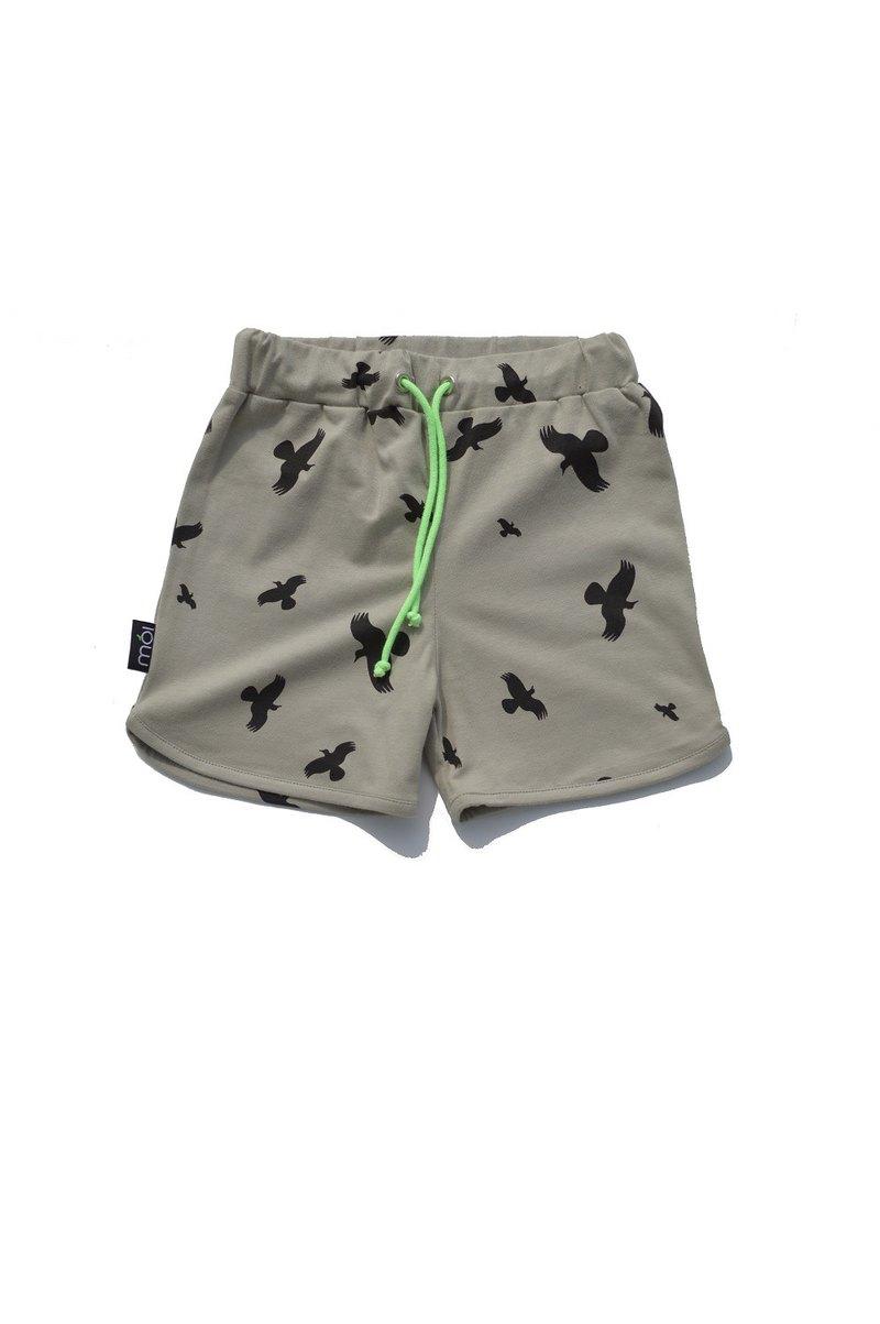 【冰島童裝】兒童有機棉短褲大渡鴨1歲至2歲 灰綠