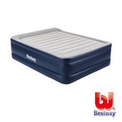 哈街 Bestway。高級自動快充植絨雙人加大充氣床(灰/藍)67691E