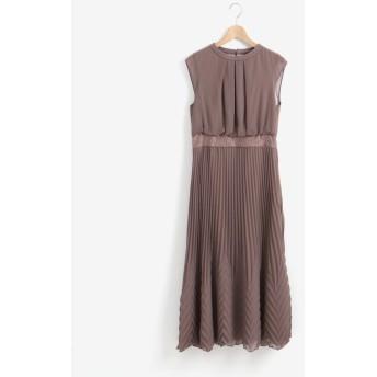 ペルルペッシュ フロントタックプリーツドレス レディース L/ブラウン 38 【Perle Peche】