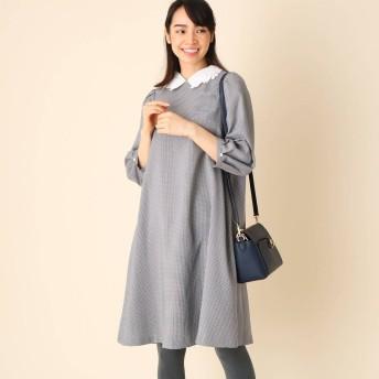 クチュール ブローチ Couture brooch 【WEB限定サイズ(S・LL)あり/手洗い可】襟付きチェックワンピース (ブラック)