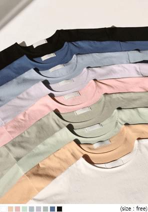 韓國空運 - 圓領側開衩寬鬆純棉T恤 長袖上衣