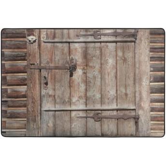 GUVICINIR 洗えるラグ 抗菌 ラグマット 複数のスタイル 滑り止め付 カーペット 1年中使えるタイプ リビングルーム、古いログハウス放棄された建物の入り口ゲートの素朴な木材、長方形 絨毯 (90×60cm)