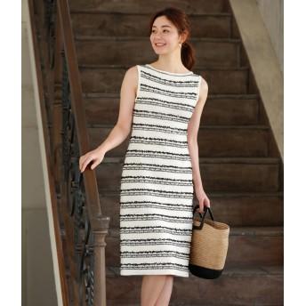 TRUE NAVY ツィードニットドレス ワンピース,ホワイト(01)