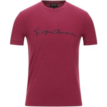《セール開催中》GIORGIO ARMANI メンズ T シャツ ガーネット 46 レーヨン 90% / ポリウレタン 10%