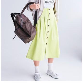 【FREDY & GLOSTER:スカート】フロント釦ミディ丈タックスカート