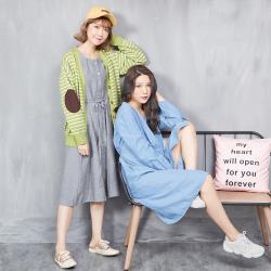【Abbie】休閒綁帶薄感牛仔洋裝
