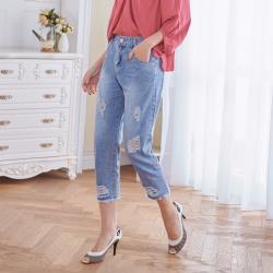 【Abbie】時尚經典刷破洞八分牛仔褲