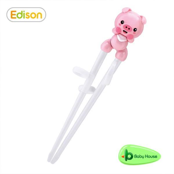 Edison 愛迪生3D粉紅小豬ABS學習筷 3y+ Step1 筷子 Baby House 愛兒房官方商城