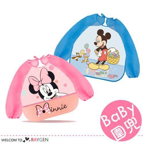 迪士尼正品米妮長袖寶寶圍兜 畫畫衣 吃飯罩