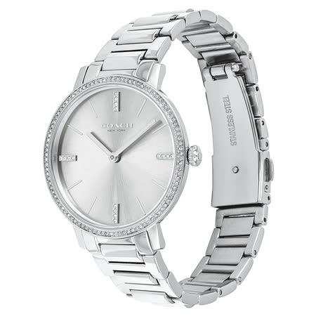 COACH 名媛風璨漾晶鑽鍊帶腕錶-34mm/銀(14503353)