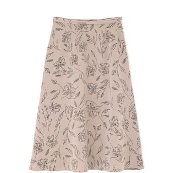 【公式/NATURAL BEAUTY BASIC】[洗える]グラフィカルフラワープリントスカート/女性/スカート/ベージュ×クロ/サイズ:M/(表生地)ポリエステル 100%(裏生地)ポリエステル 100%