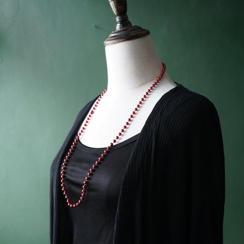 【老飾品/西洋老件】VINTAGE紅色炫光閃亮塑膠串珠古著項鍊