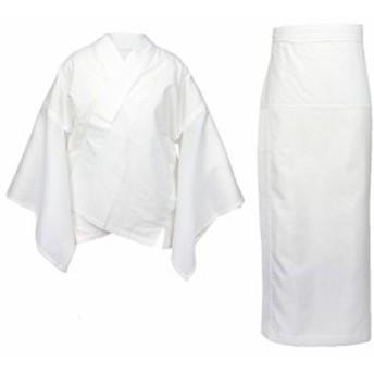 『キャッシュレスP5%還元』(キョウエツ) KYOETSU レディース洗える夏二部式長襦袢 白地 絽生地 半衿・衣紋抜き 仕立て上がり (L, 絽(衣紋