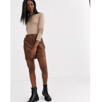 ピンキー Pimkie レディース スカート button through faux leather skirt in tan ブラウン