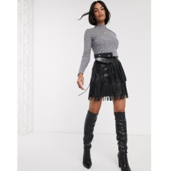 リバーアイランド River Island レディース ミニスカート スカート faux leather fringed mini skirt in black ブラック
