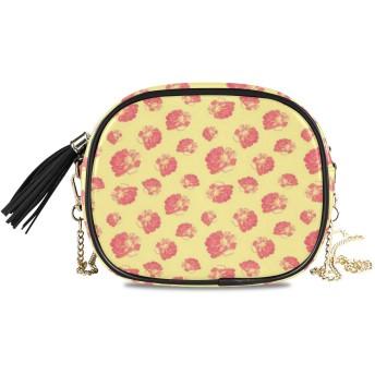 NIESIKKLA レディース チェーンバッグ、おしゃれ ミニ グ ショルダーバッグ シンプル 合わせやすい 多機能 結婚式 パーティーバッグ、花の花びらバイカラービンテージイラストでかなり女性的なパターン