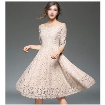 BELIALL 春ファッション中空セクシーなワード カラー ストラップ レス5点スリーブドレス ウェディング ゲスト ドレス (Color : Khaki, Size : 2XL)