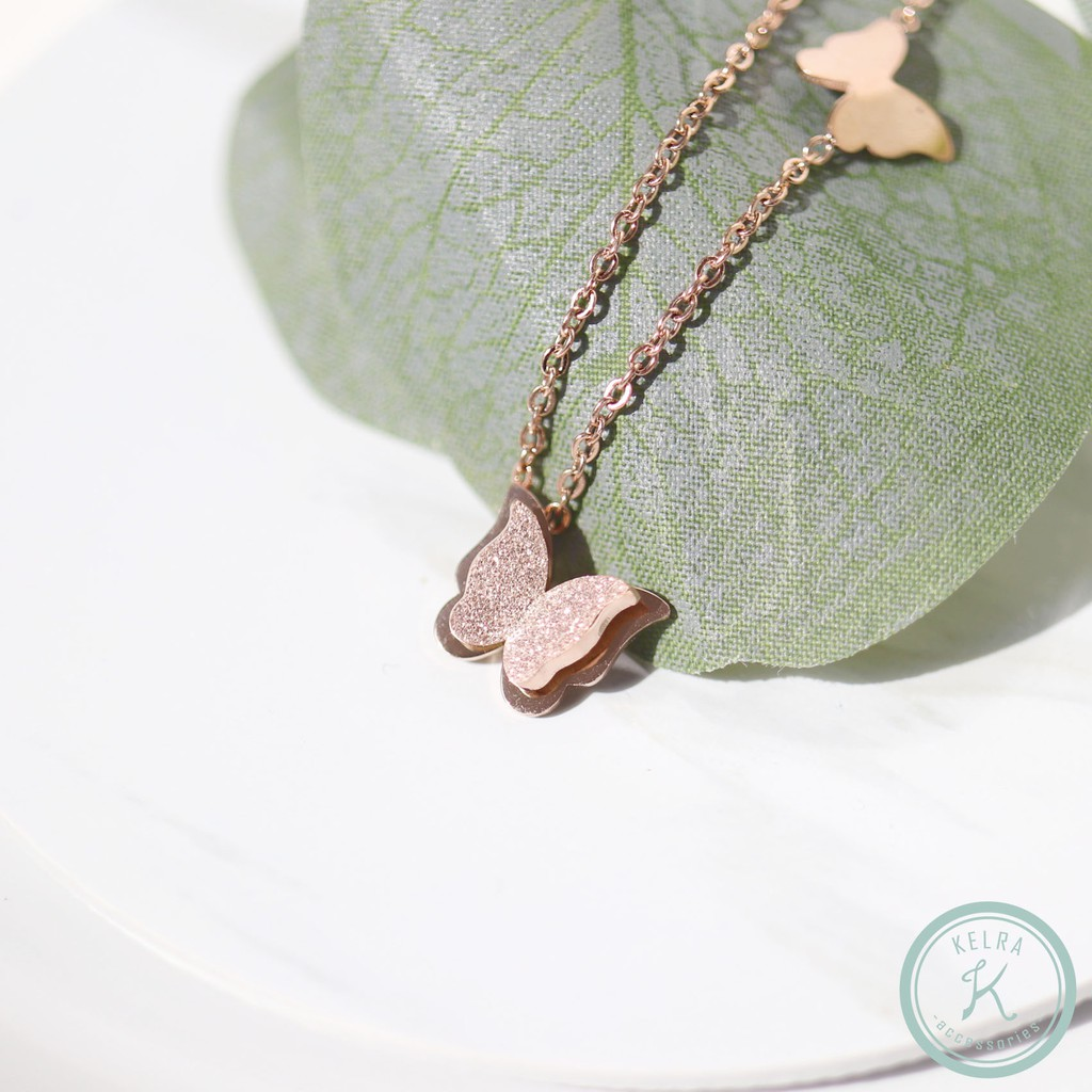 【KELRA】防水防敏舞蝶玫瑰金手鍊