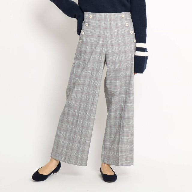 Dessin(Ladies)(デッサン:レディース)/【Sサイズ 洗える】ボタンポケットチェックワイドパンツ