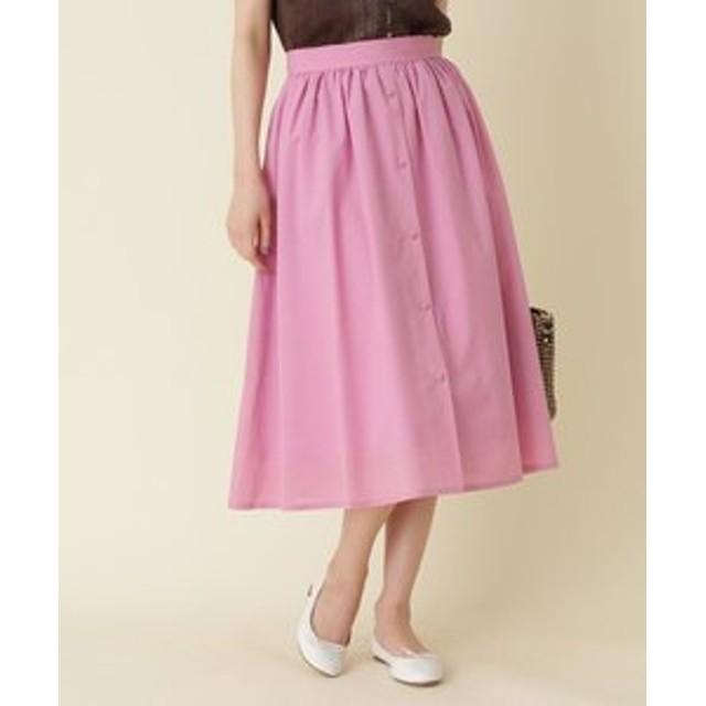 【Couture brooch:スカート】【WEB限定サイズ(S・LL)あり】フロントボタンミディ丈スカート