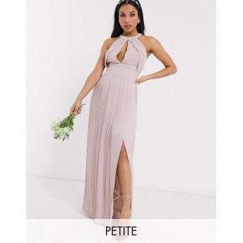 ティーエフエヌシー ミディドレス レディース TFNC Petite bridesmaid exclusive pleated maxi dress in pink [並行輸入品]