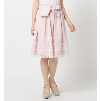 【ロディスポット/LODISPOTTO】 ウエストリボンレース切替スカート