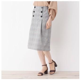 【グローブ/grove】 前釦チェック柄Aラインスカート