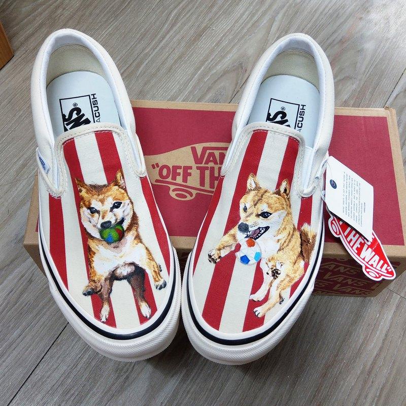 手繪鞋 訂製客製化寵物條紋帆布鞋 柴犬 狗狗 貓貓
