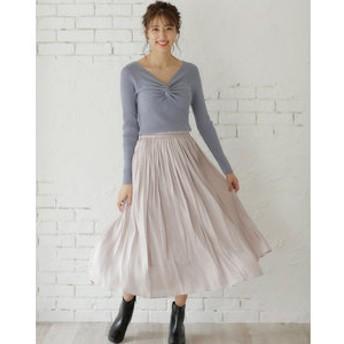 【INGNI:スカート】シャイニーサテンギャザー スカート