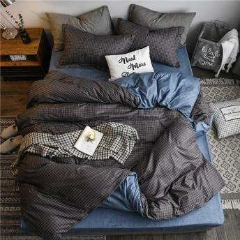 夏の寝具は、グリーン布団カバーベッドは、幾何学的なフラットシートトナカイの寝具4本ベッドlinenset北欧ホームテキスタイル、yiluoブルー、ツイン、フラットベッドシートを設定する設定しました