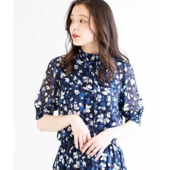 MK MICHEL KLEIN / エムケーミッシェルクラン 【洗濯機で洗える】花柄ボウタイデザインブラウス