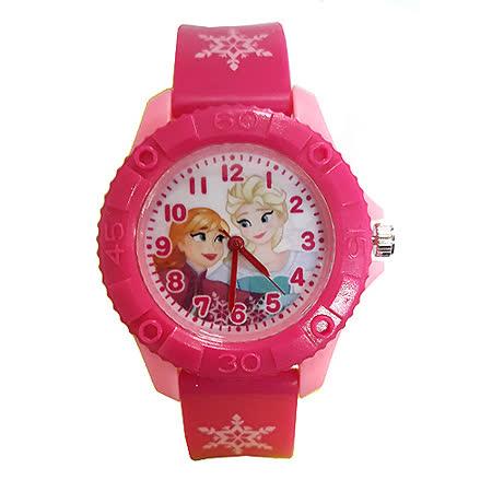 冰雪奇緣安娜艾莎 齒輪款膠錶-桃粉