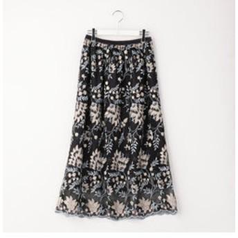 【NOLLEY'S:スカート】フラワー刺繍レーススカート