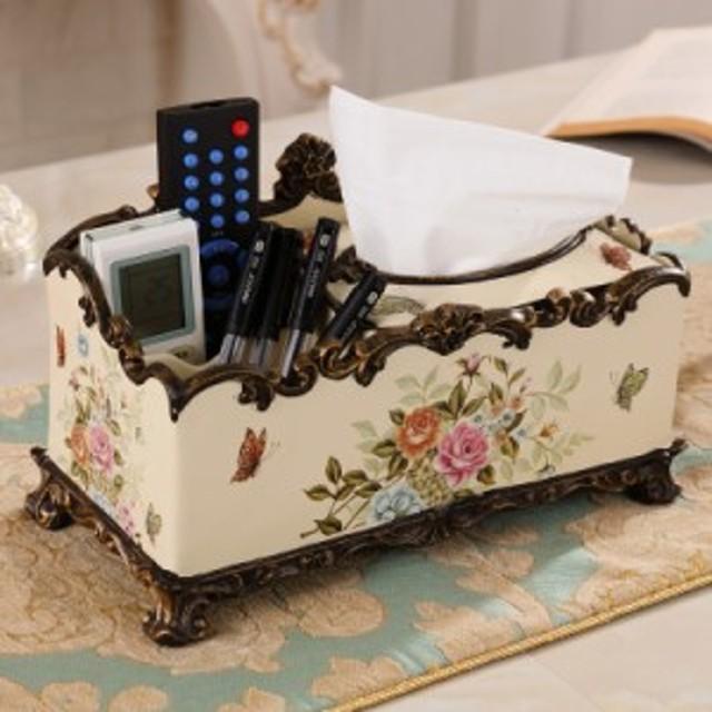 リモコンラック 小物入れ ポケットティッシュケース ヨーロピアン風 草木花のイラスト (Fタイプ)