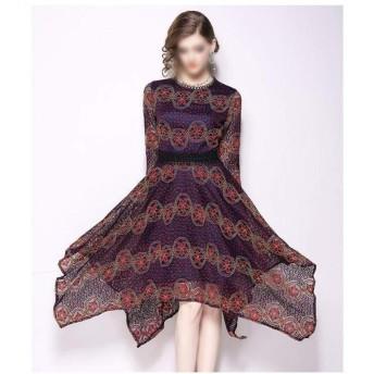BELIALL 秋の女性のラウンドネックスリム痩身長く不規則なレースのドレスの女性 (Color : Picture color, Size : M)