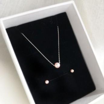 【K10WG】照り綺麗☆4.5mm小粒ピンクパールスルーネックレスと3mmピアスセット