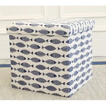 収納ボックス フタ付き 折り畳み式 北欧風 2個セット (フィッシュ)