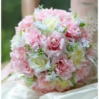 造花 バラ ブーケ 直径25cm (ライトピンク)