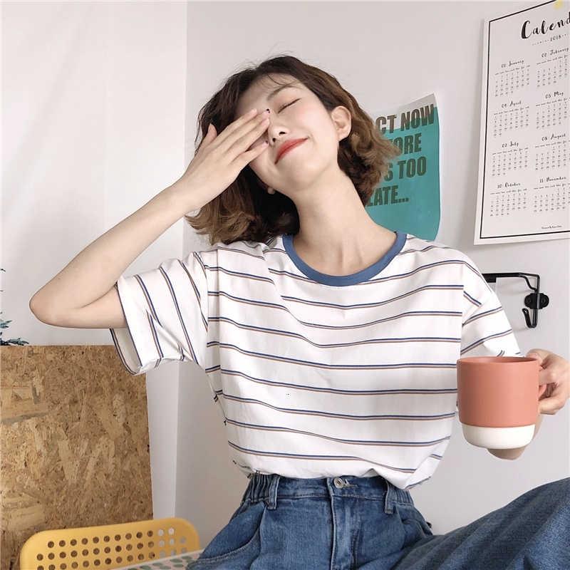 [免運]圓領短袖上1633608寬鬆百搭學院風條紋休閒短袖T恤
