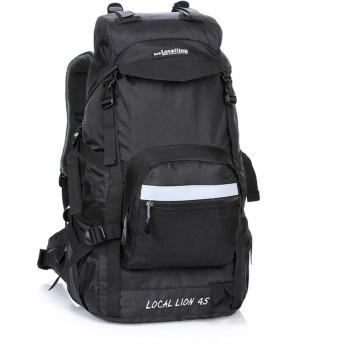 サイクリングバッグ ミリタリー防水ハイキングキャンプバックパックパッド入りバックサポート&クッション調整可能ストラップ用男性女性45L スポーツバックパック (Color : Black, Size : 503424cm)