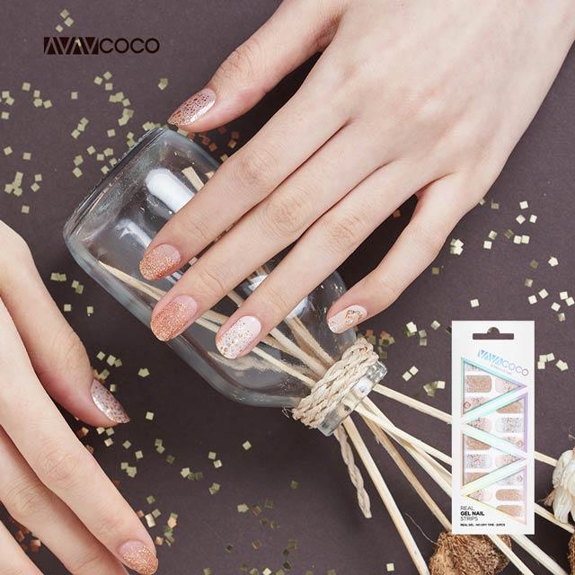 【VAVACOCO】光感凝膠光療美甲貼片-璀璨流金20片