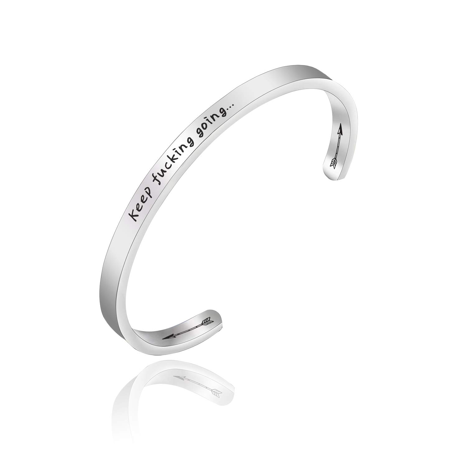 PLITI Stainless Steel Cuff Bangle I Am with You Till The End of The Line BFF Bracelet Geeky Friendship Gift