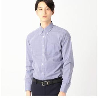 【COMME CA ISM:トップス】イージーケア ドレスシャツ マイクロチェック(釦ダウンカラー)