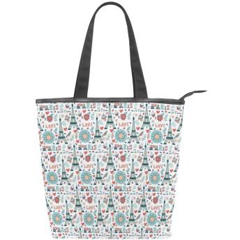KENADVIトートバッグ 最高級 軽量 キャンバス レディース ハンドバッグ 通勤 通学 旅行バッグ、エッフェルレトロスプリングジェタイムプリント、スタイリッシュ グラフィックス 収納袋