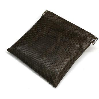 ML-1156 バネ口 小物入れ 小銭入れ マルチケース 本革 ダイヤモンド パイソン革 蛇革 パール ホワイト (チョコ)